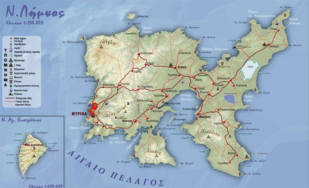 Lemnos Greece Map.Map Of Lemnos Greece Lemnos Island Greece Pinterest Greece