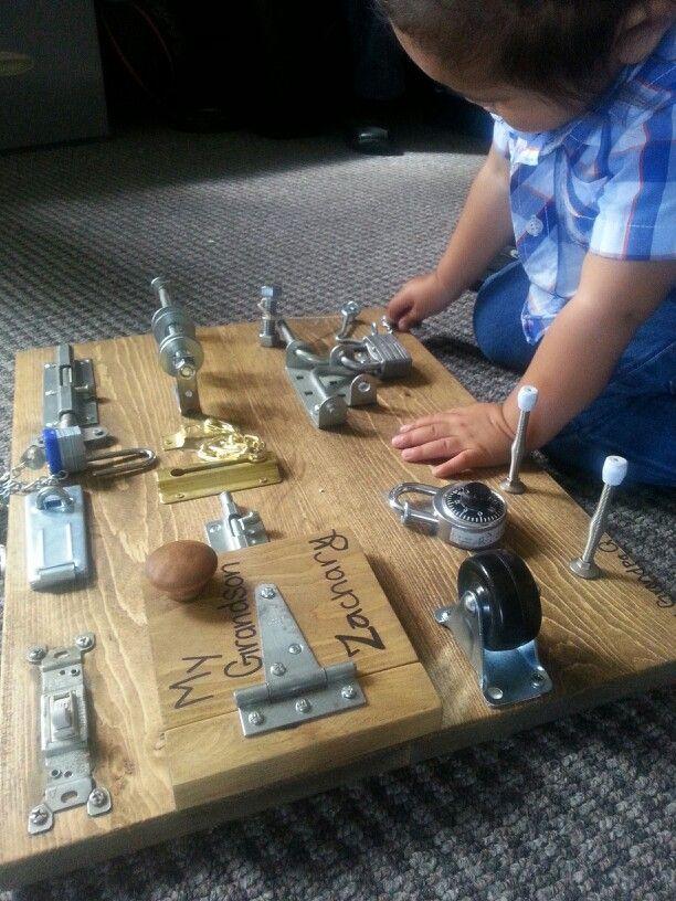 Toddler Lock Board By Grandpa Toddler Play Busy Lockboard Baby Toys Diy Busy Board Baby Kids Playing