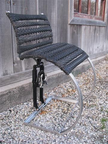 Single Chair made with tire treads and suspension forkartist - ausergewohnliche relax liege hochster qualitat
