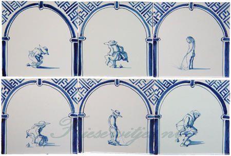 kinderspelen, ambachten en andere figuren op Friese witjes geschilderd.