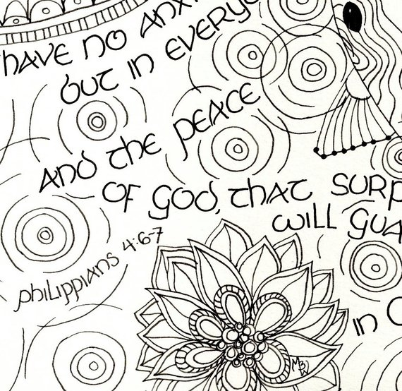 Printable Philippians 4 6 7 Scripture Art Coloring Page For