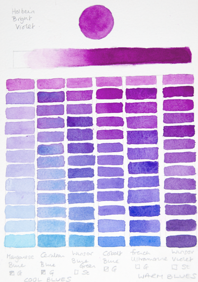 Holbein Bright Violet Chart (Blues) | Watercolor palette. Coloring journal. Watercolor mixing