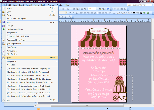 Eccentric Designs By: Latisha Horton: How To Make Invitations In Microsoft  Publisher [ Tutorial  How To Make Invitations On Word