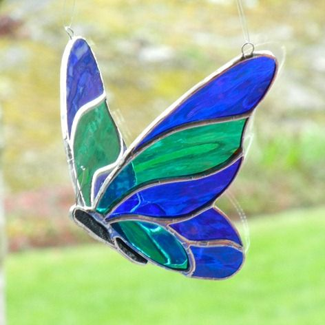 Stained glass butterfly 3d blue and green stained glass for Butterfly stained glass craft