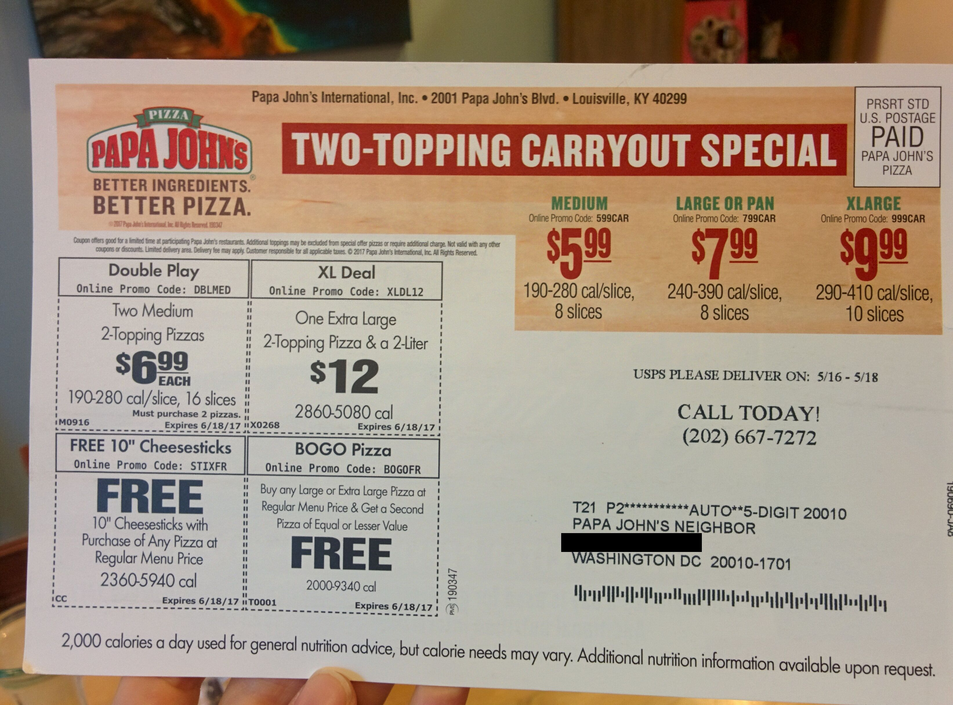 Papa Johns Washington Dc May 2017 Coupon Labeled Since It Is The Only Way Customer Can Order Phone Number Price Promo Codes Online Papa Johns Good Pizza