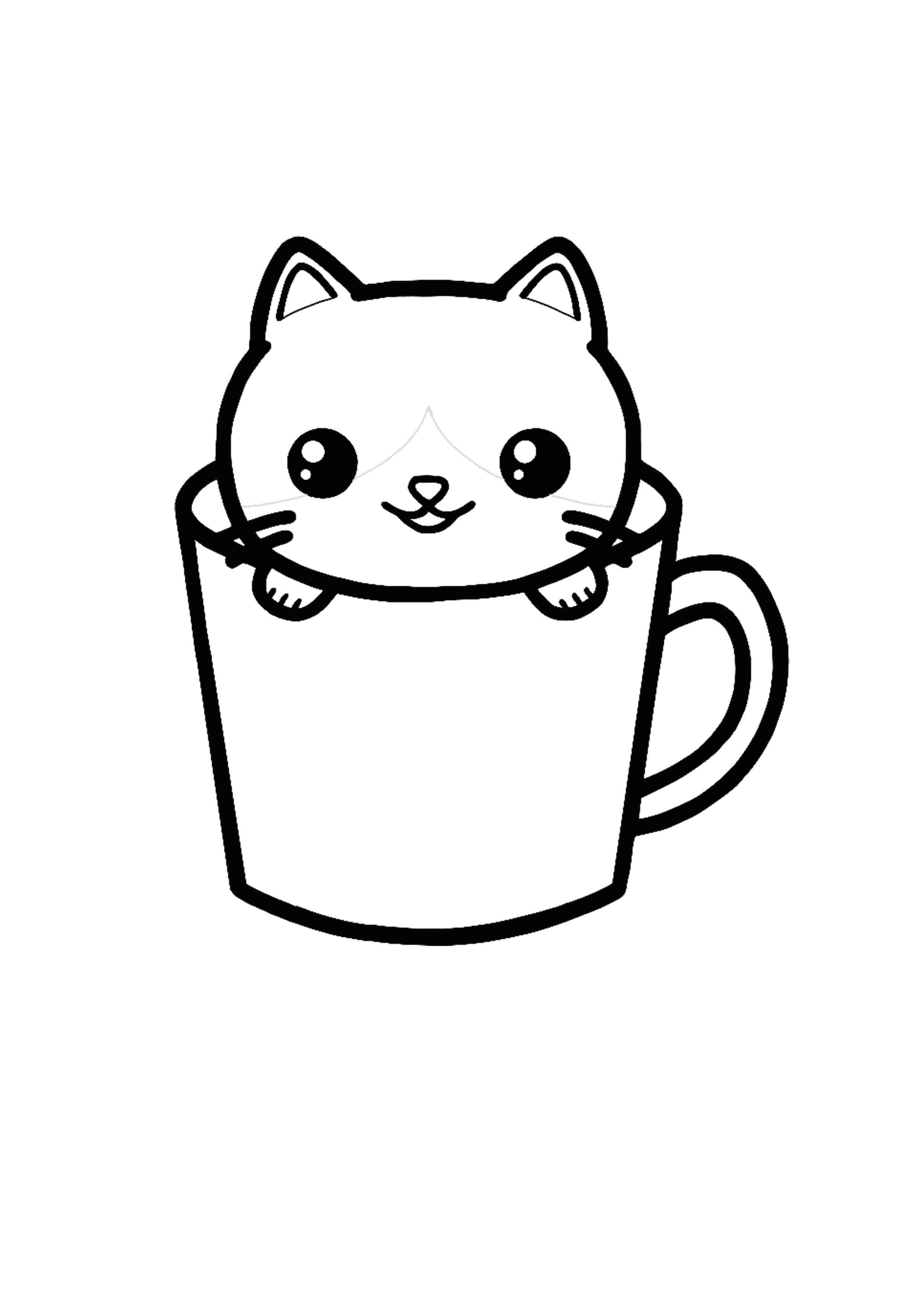 Kawaii Cat Teacup Coloring Page Cat Coloring Page Kitty Coloring Coloring Pages