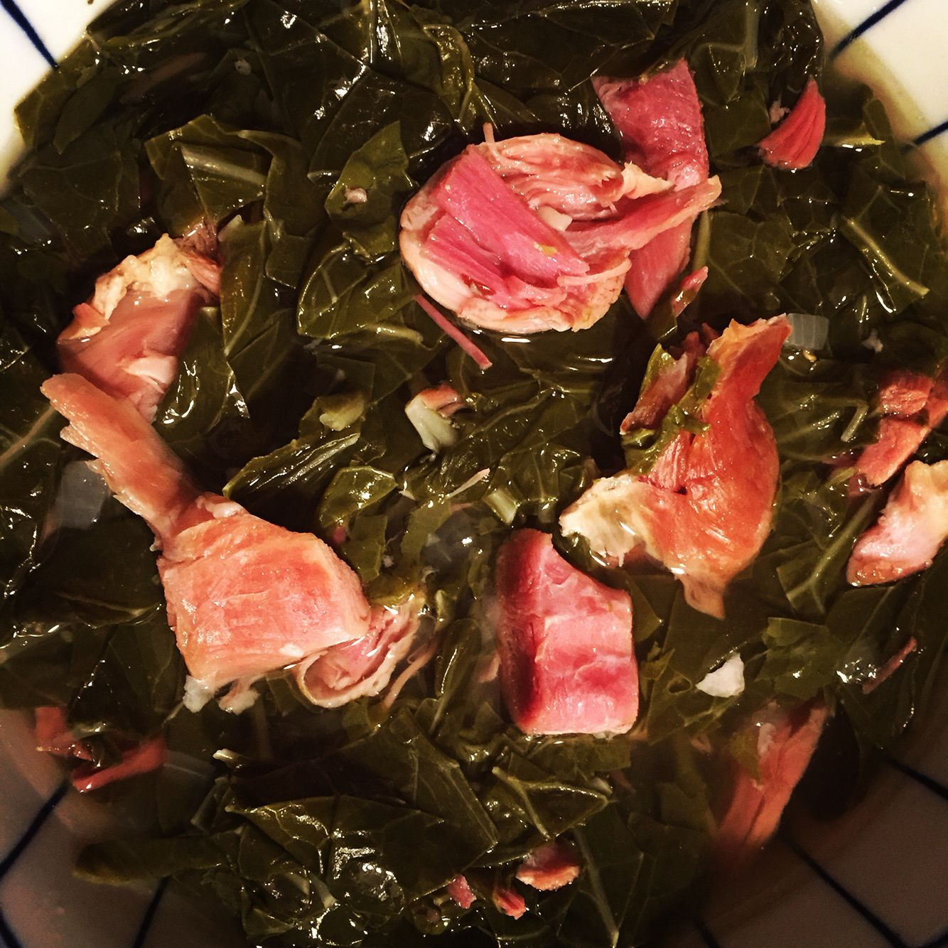 Ham shanks and collard greens