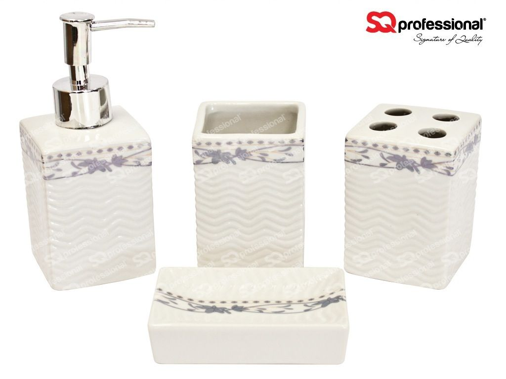 4-piece Ceramic Bathroom Set: liquid soap/lotion dispenser, tumbler ...