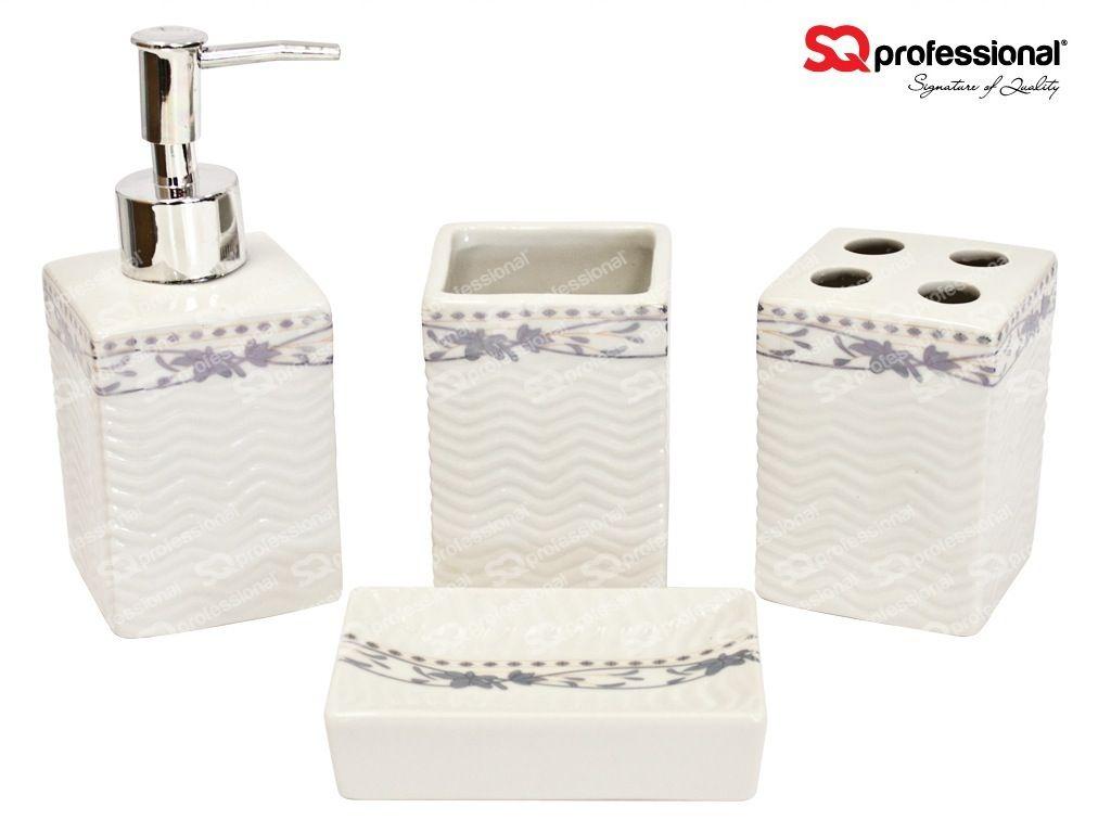 Clean A Bathroom Set 4piece ceramic bathroom set: liquid soap/lotion dispenser