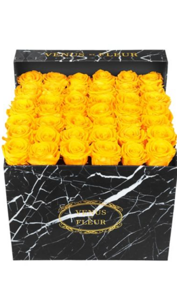 Venus Et Fleur Yellow Roses In A Black Marble Pattern Box You Can