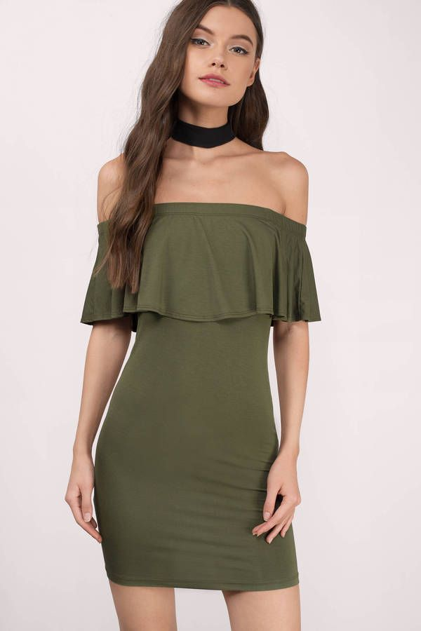 68977b1e2a5d Olive off shoulder dress with a cute flap over detail that s perfect to wear  to your next Christmas event.