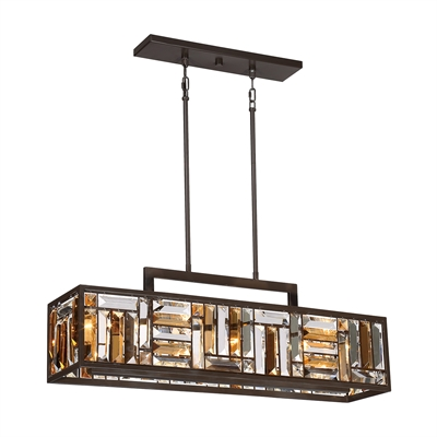 Quoizel Crossing W Bronze Kitchen Island Light With Tinted Shade At Lowes The Allure Of Is Clear And Amber Bevel Cut Glass