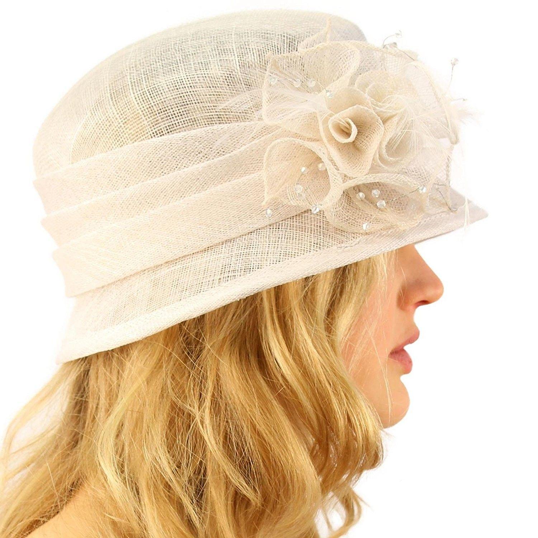 8dc74299f02b2d Hats & Caps, Women's Hats & Caps, Bucket Hats, Summer Fancy 1920s Flapper  Sinamay Trio Floral Cloche Bucket Church Hat - White - CK11JQSNQGJ #hats # caps ...