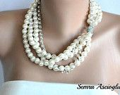 Holiday Weddings Glass Pearls Brides jewelry necklace, made to order bracelet,earrings Layered Ivory Pearl Necklace Rhinestones  bridesmaids