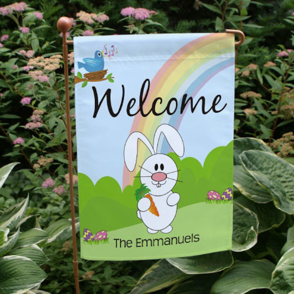 Personalized easter bunny garden flag easter pinterest easter personalized easter gifts every bunny will love designs may be printed on our one side or double sided durable all weather poly garden flag and measures negle Images