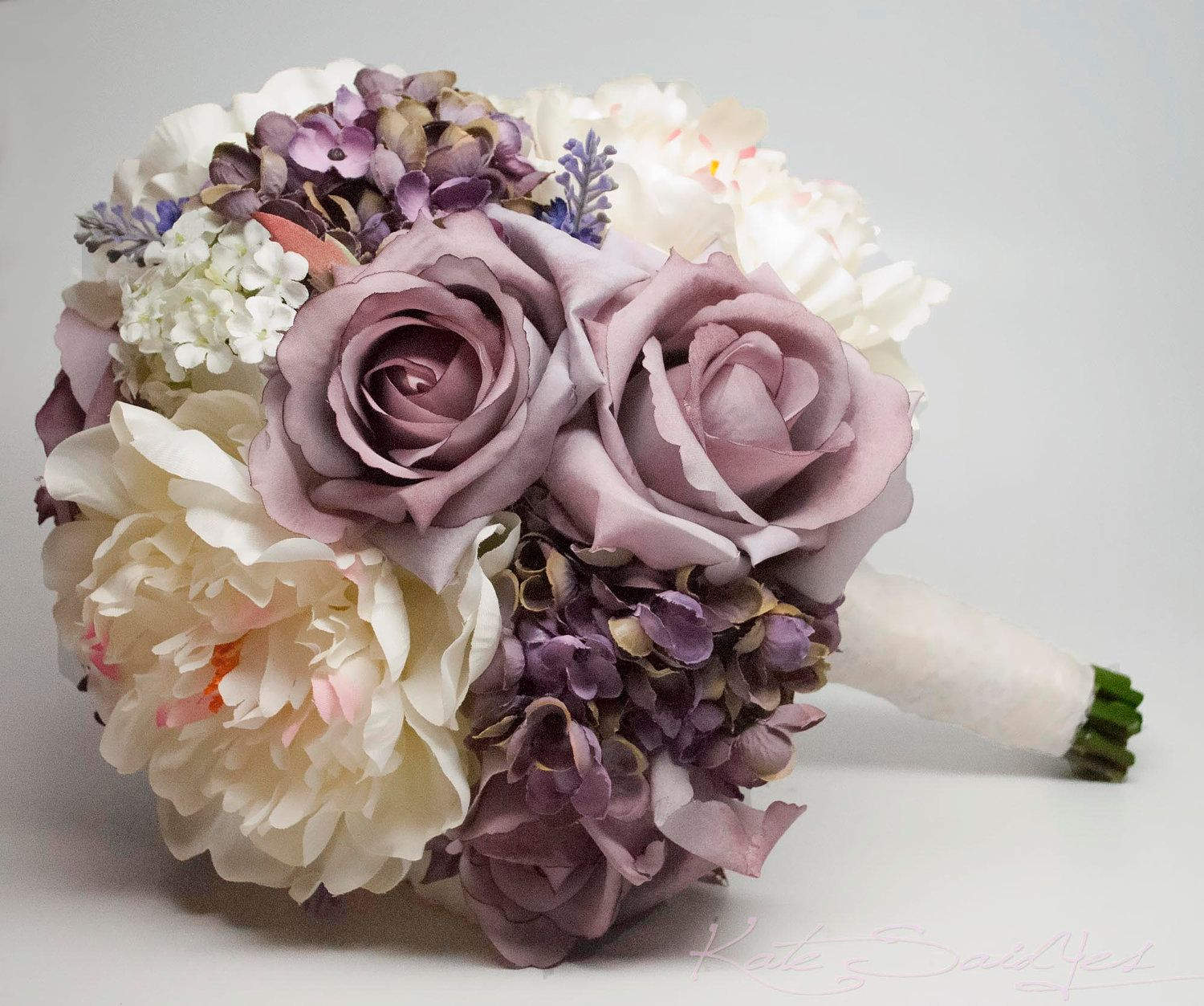 a shabby chic bouquet with lavender roses and hydrangea as well as ivory peonies and lace from. Black Bedroom Furniture Sets. Home Design Ideas