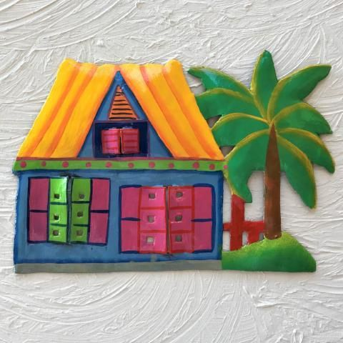 Metal Yellow Roof Caribbean Beach Hut Wall Art Caribbean Decor