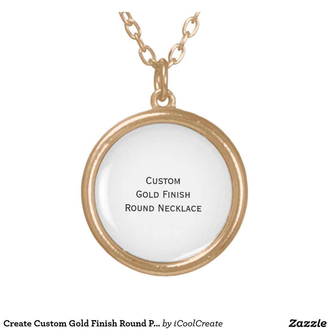 Create custom personalized gold finish round photo gold plated