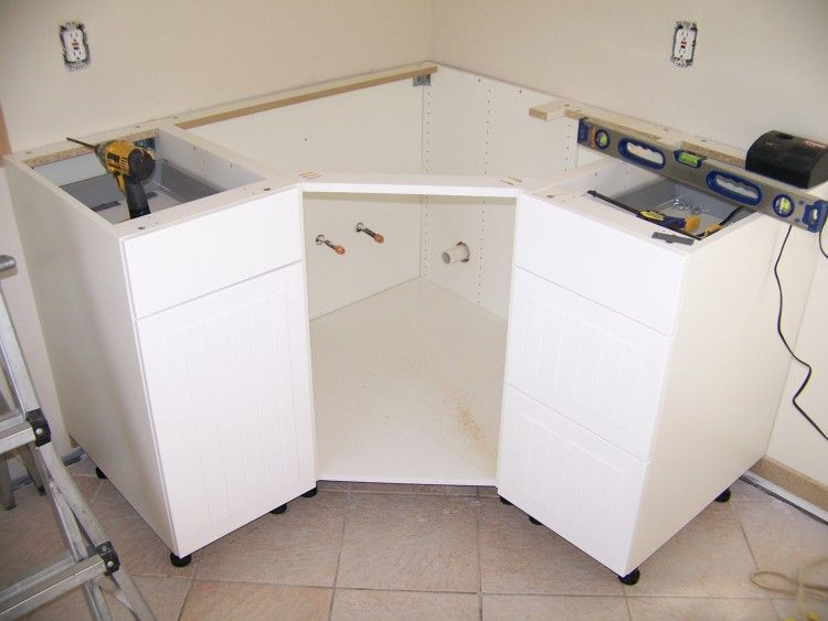 ikea kitchen sink cabinet installation ikea corner cabinet modification for sink remodle ideas 17694