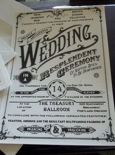 Jenny and damon old fashioned wedding invitation pinterest wedding invitation wording that wont make you barf offbeat bride way to complicated but fun lol prancing and frolicking stopboris Image collections