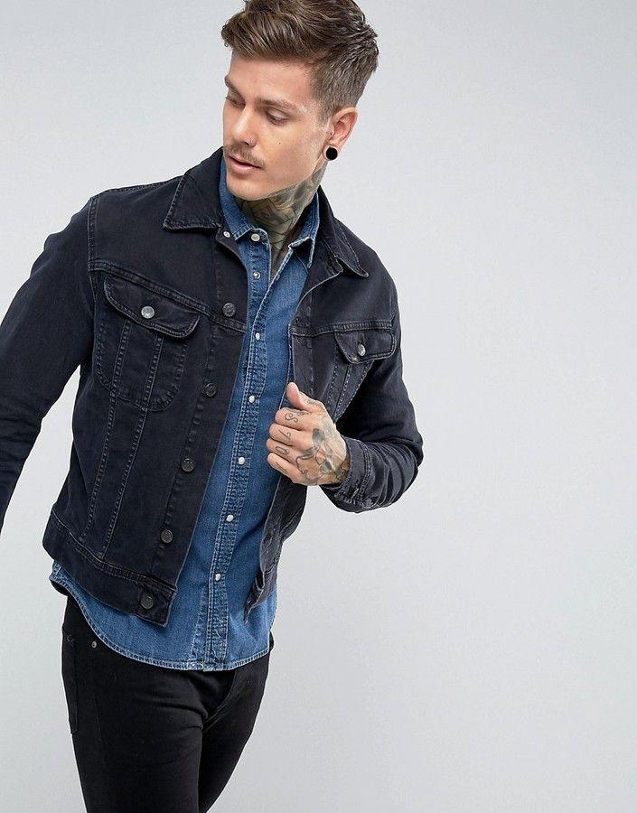 Lee Rider Jacket Slim Vintage Fit Blue Black Black Denim Jacket Outfit Jean Jacket Outfits Men Black Denim Jacket