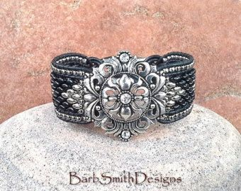 En cuir noir argent perles Bracelet - la Dame somptueuse