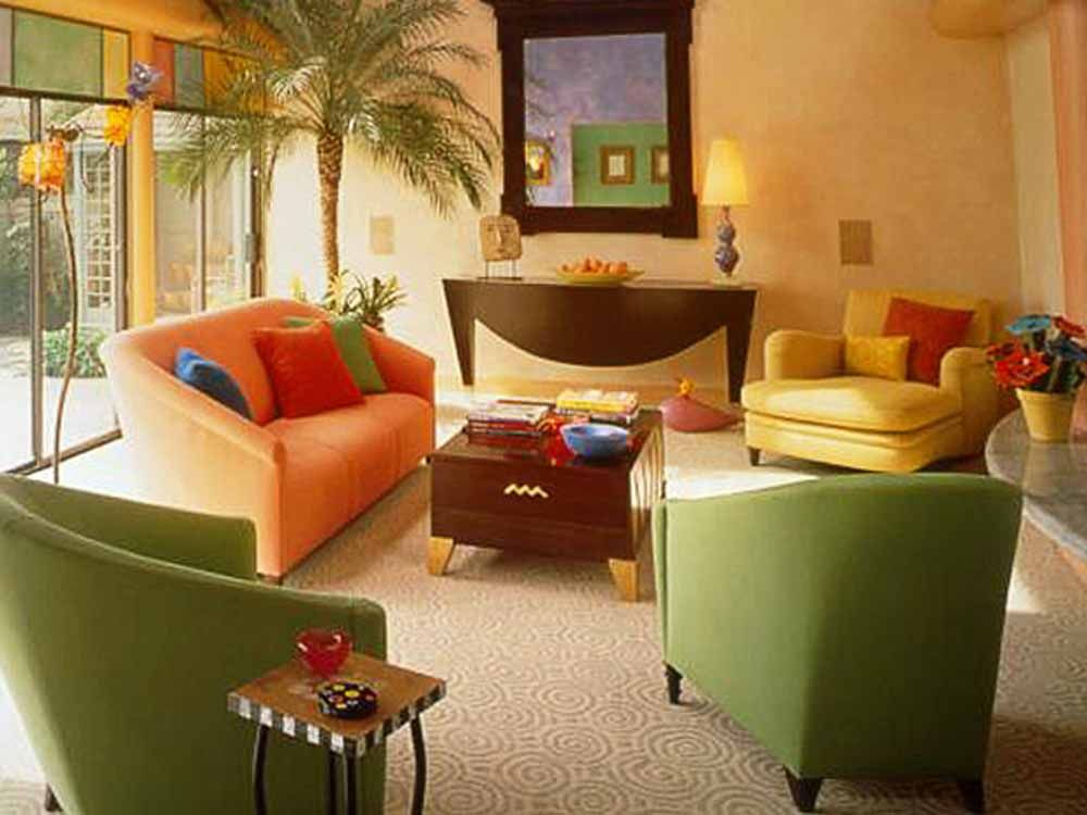 Cheerful Paint Colors For Small Vibrant Tropical Living Room Interior