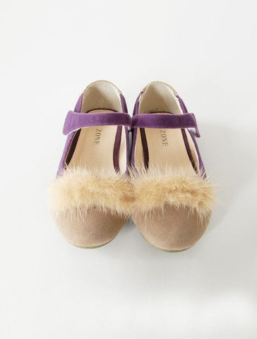 A classic mary jane is styled with light brown leather toe with soft and cozy mink on top.  Go get'em! $55.00 @WUNWAY.com