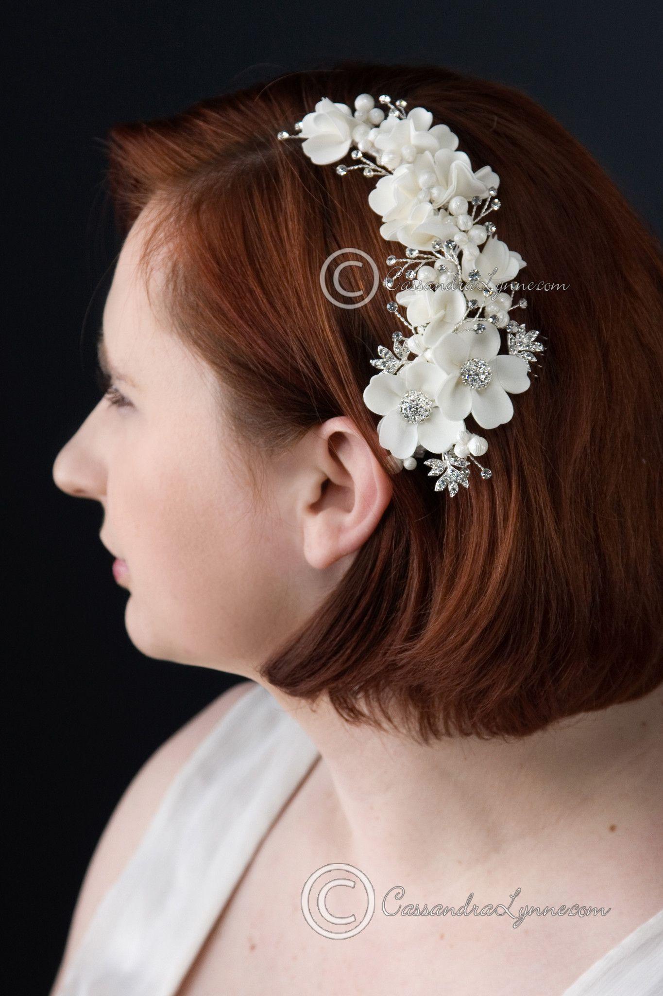 Bridal Comb with Satin Flowers Rhinestones & Fabric Pearls | Satin ...