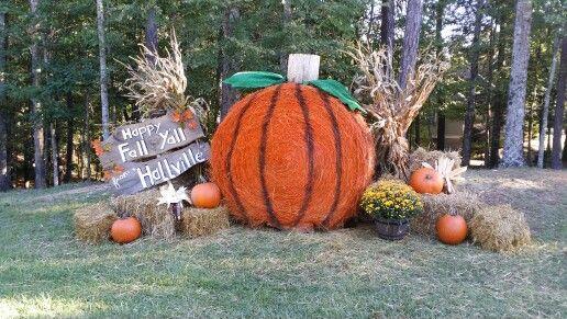 Pumpkin Hay Bale Love The Fall Fall Yard Decor Fall Festival Decorations Hay Bale Fall Decor