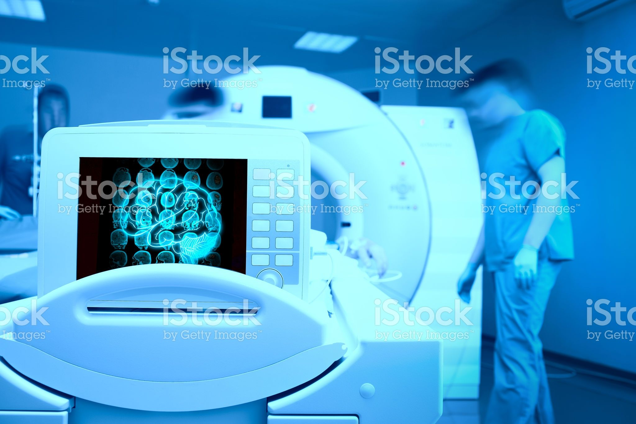 MRI scan on the monitor of patient`s head Nuclear