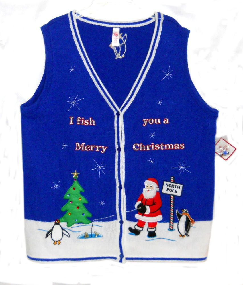 Christmas themed holiday time sweater vest size xxl for Fishing christmas sweater