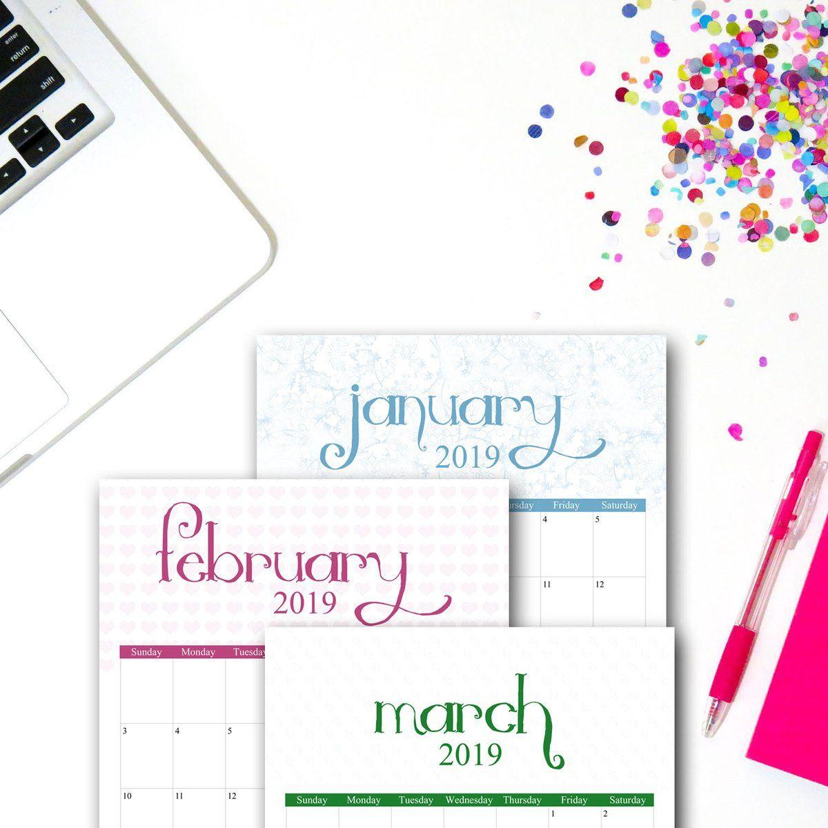 Festive January 2019 Calendar 2019 Printable Calendar | Seasonal Designs | 2019 Calendar