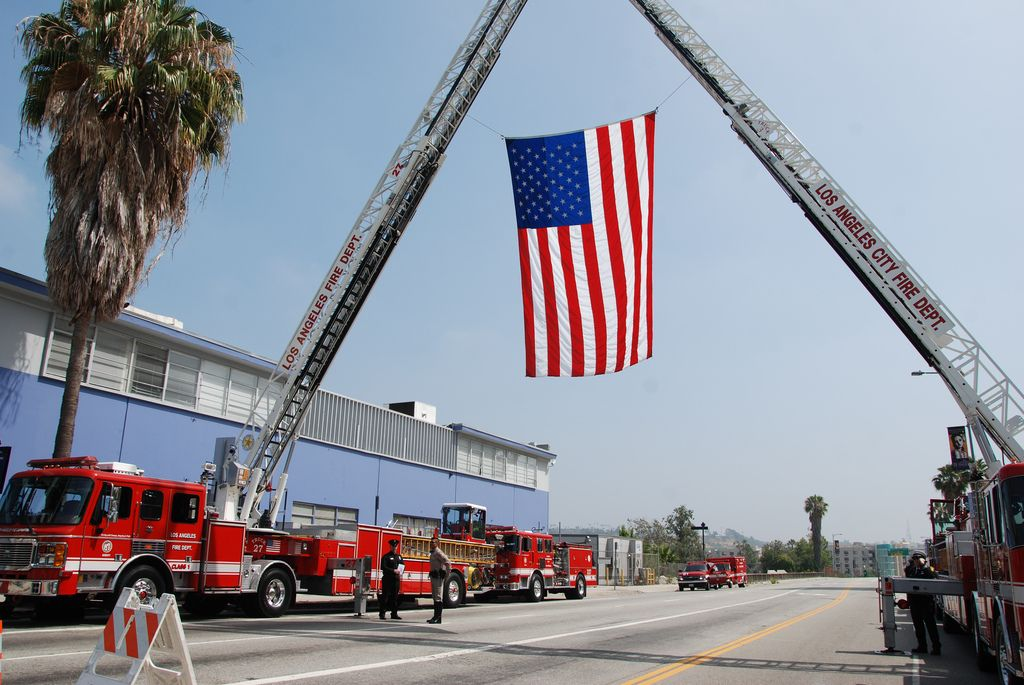 Los Angeles Fire Department Lafd Los Angeles Fire Department Fire Department Displaying The American Flag