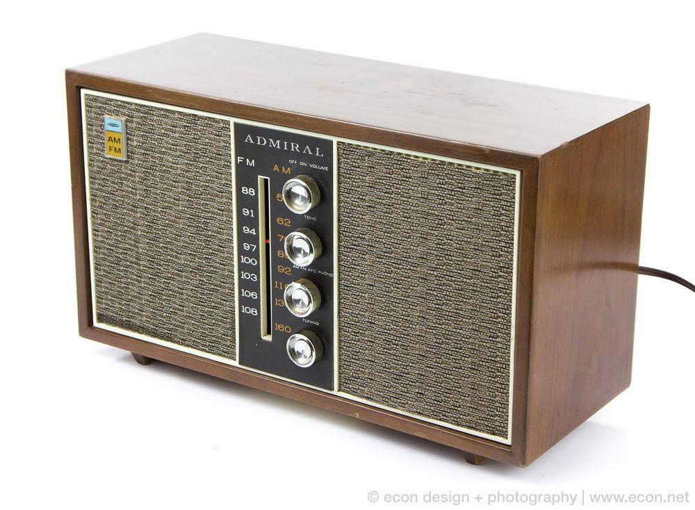 Vintage ADMIRAL Solid State AM FM Radio Wood Cabinet Tweed ...