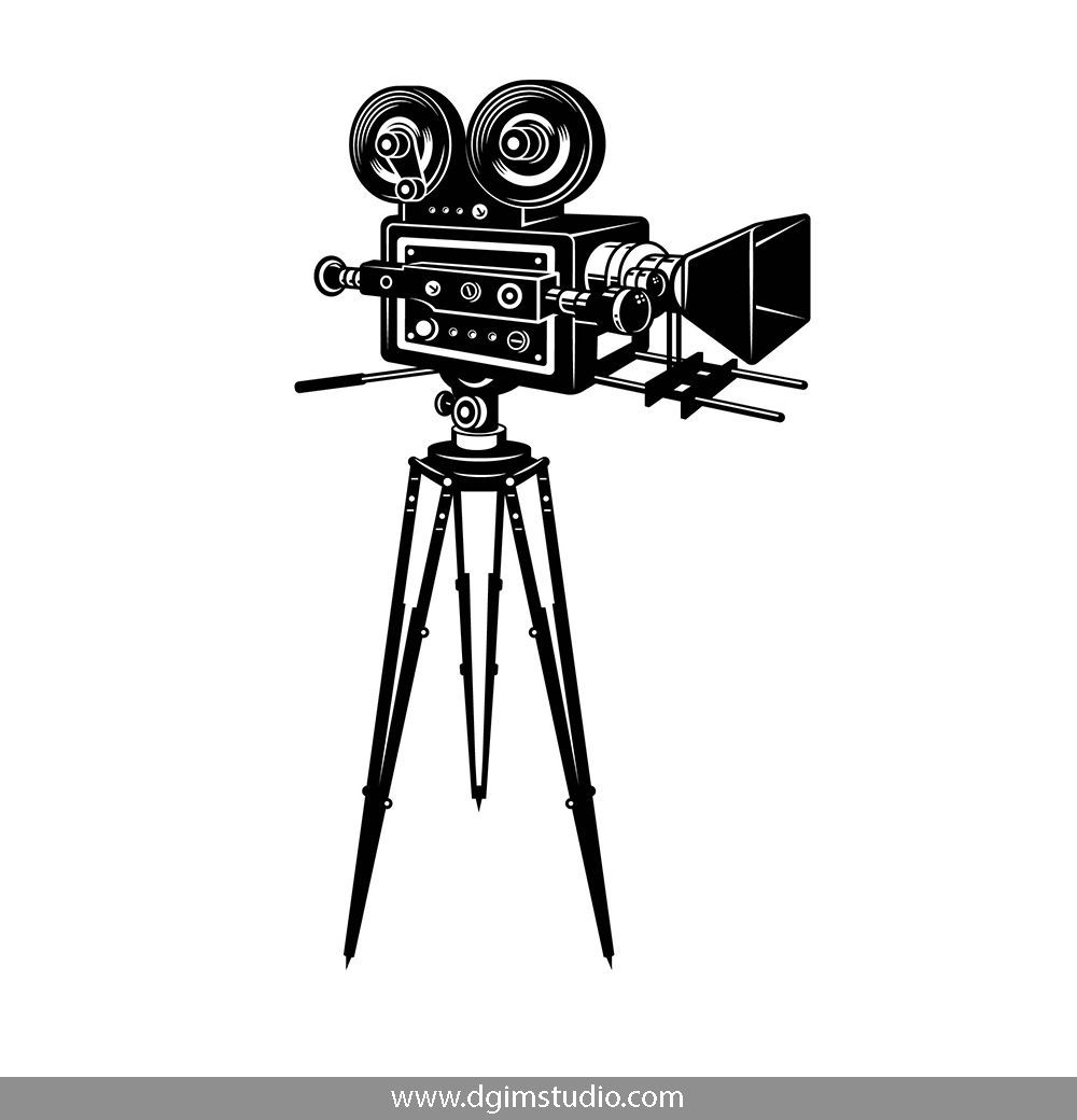 Movie Camera In Vintage Style Click To The Link To Find More Cinema Elements Badges And Emblems Vectorillustratio Vector Artwork Camera Tattoo Vintage Love