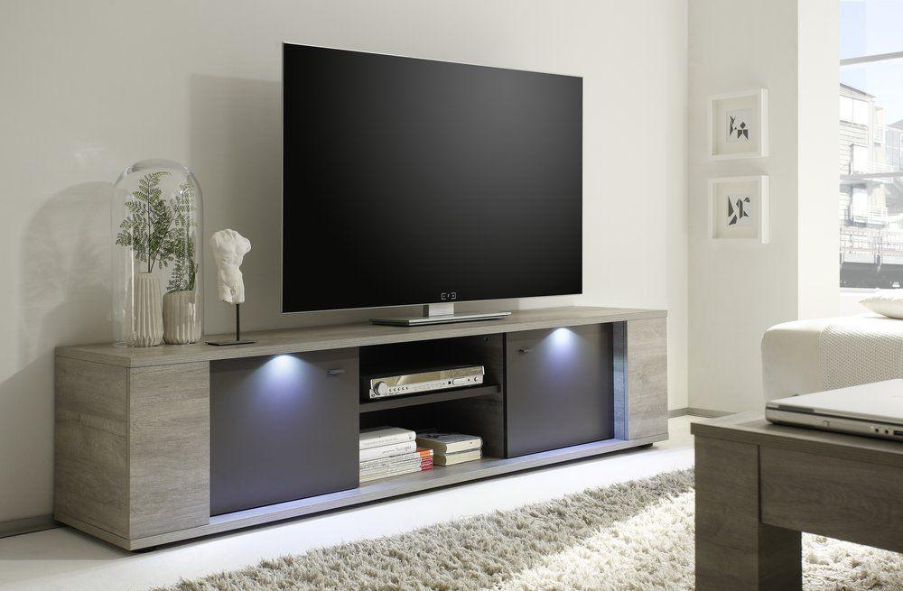 Alberta Modern Large TV Cabinet In Grey Oak Finish Lights Included