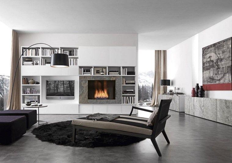 chimeneas modernas salon alfombra negra ideas Interiores con - chimeneas modernas