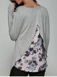 Back Surplice Floral Print T-Shirt