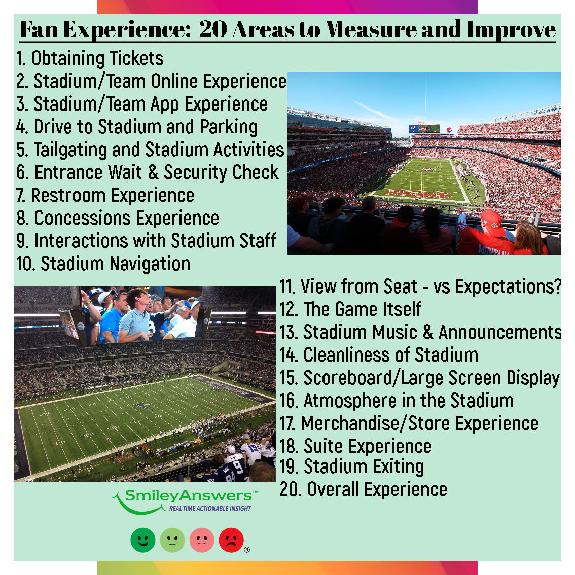 20 Areas To Measure And Improve For The Fan Experience Smileyanswers In 2020 Mit Bildern