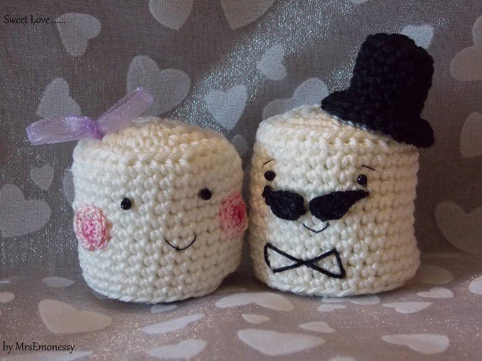 DIY Häkeln Marshmallow Brautpaar Gratisanleitung   Minnak hediyeler ...