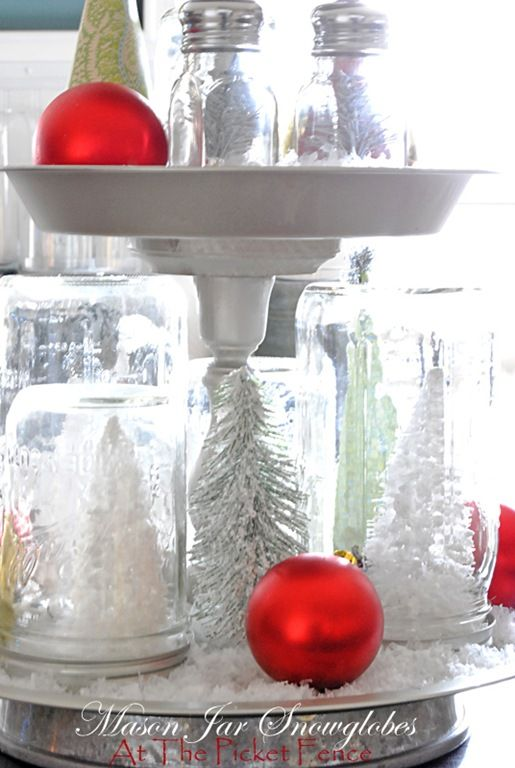Creative diy mason jars for the holidays jar creative and holidays do it yourself mason jar snow globes from at the picket fence solutioingenieria Choice Image