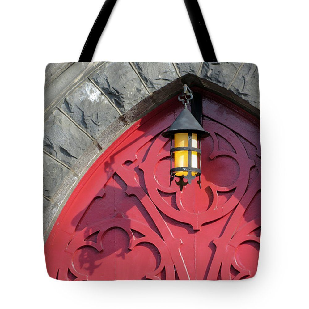 The Red Door Of Trinity Episcopal Cathedral In Portland Oregon Tote
