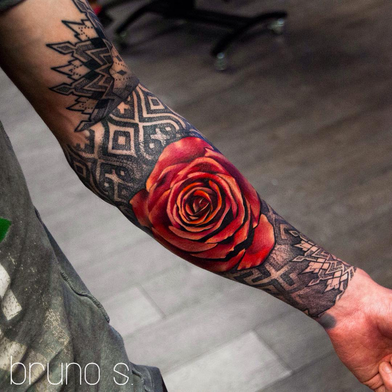 Black Work Mandala And Red Rose By Bruno Santos