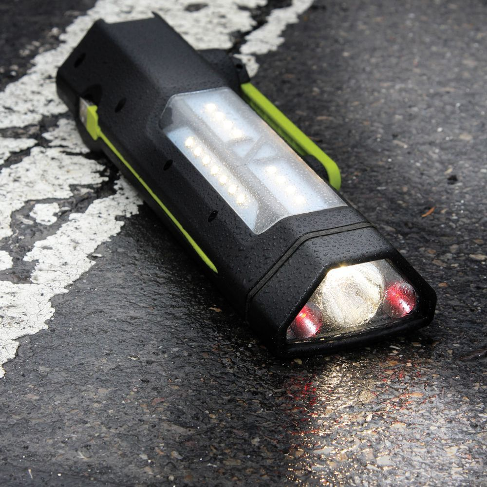 The handheld Torch 250 charges via USB, a built-in solar panel or the hand-cranked dynamo. Floodlight, spotlight and flashing red modes accommodate various scenarios while the USB output tops up your phone.