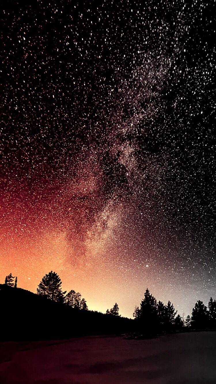 Orange Starry Night Night Sky Wallpaper Nature Wallpaper Beautiful Night Sky
