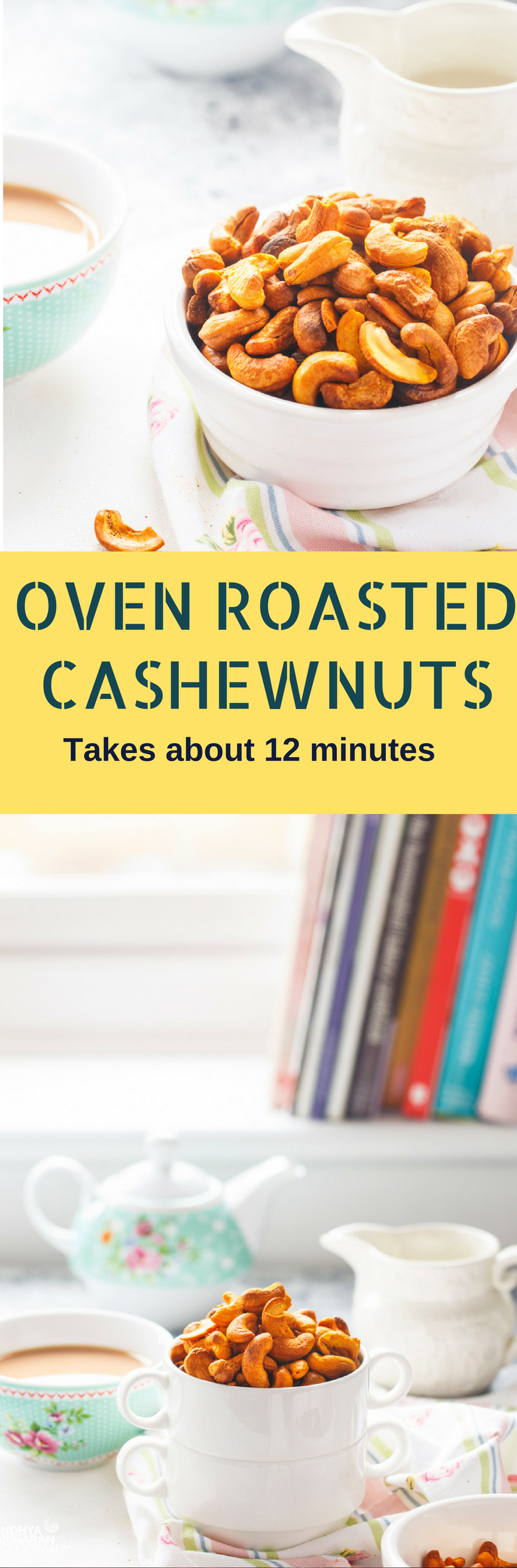 Spicy roasted cashew nuts recipe | easy oven roasted cashews