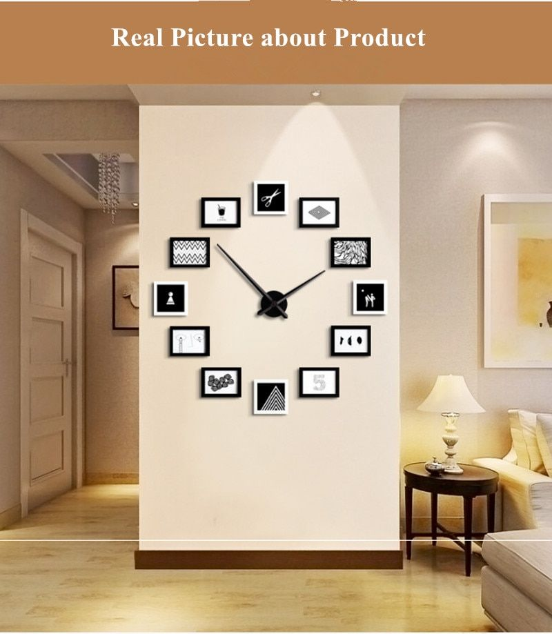 Silent Quartz Wall Clock For Living Room Decoration New Creative Nordic Wall Clocks Large European Simple Modern Photo Watch In 2020 Unique Home Decor Contemporary Home Decor Home Office Furniture