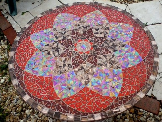 Sold: Red/Gold Mandal Glass Mosaic Tabletop