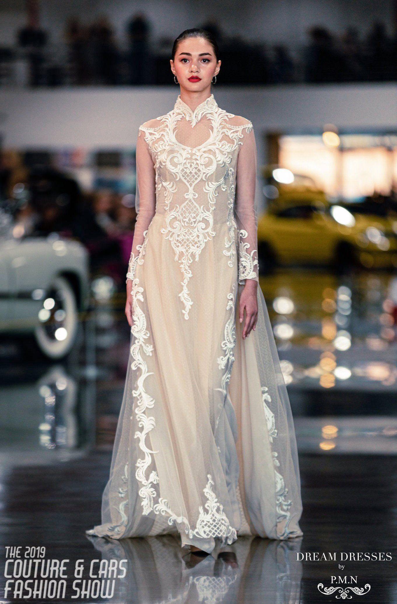 White Ao Dai Vietnamese Lace Bridal Dress (CINDA